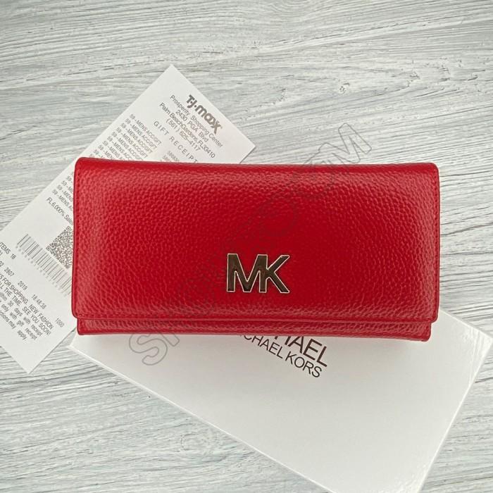 Кожаный женский кошелек Мк (8005) red Lux