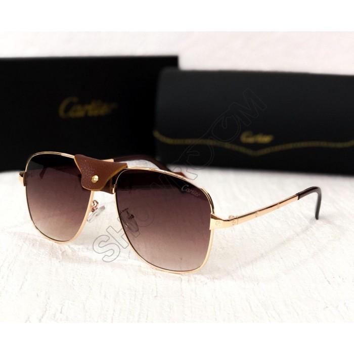 Мужские солнцезащитные брендовые очки (8020) gold