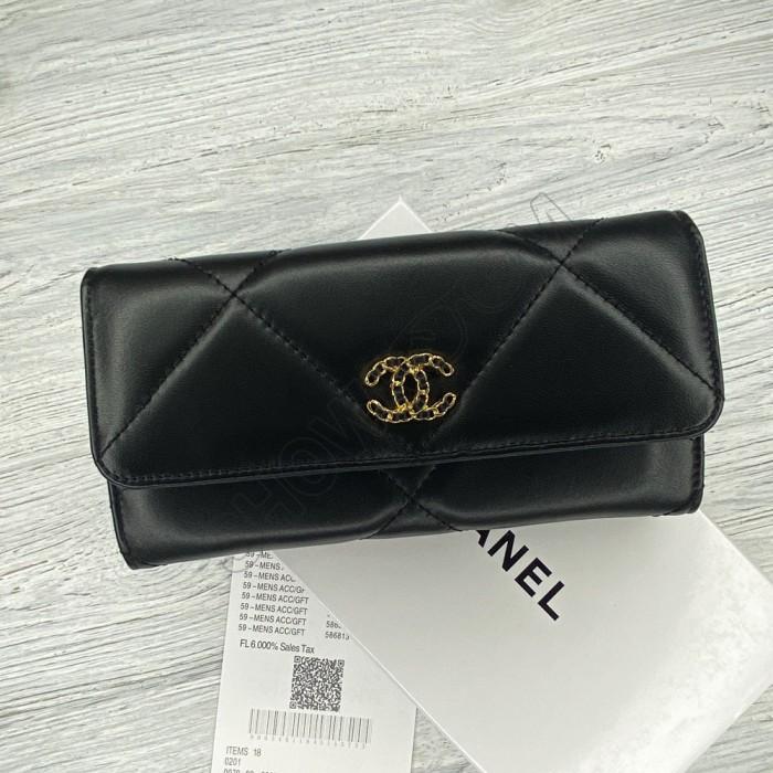 Кожаный женский кошелек Ch (8101) black Lux