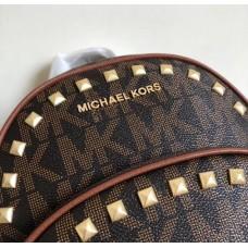 Женский кожаный брендовый рюкзак Michael Kors Big brown (8790) Lux