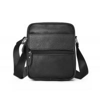 Небольшая мужская сумка Leather Collection (1901) кожаная черная