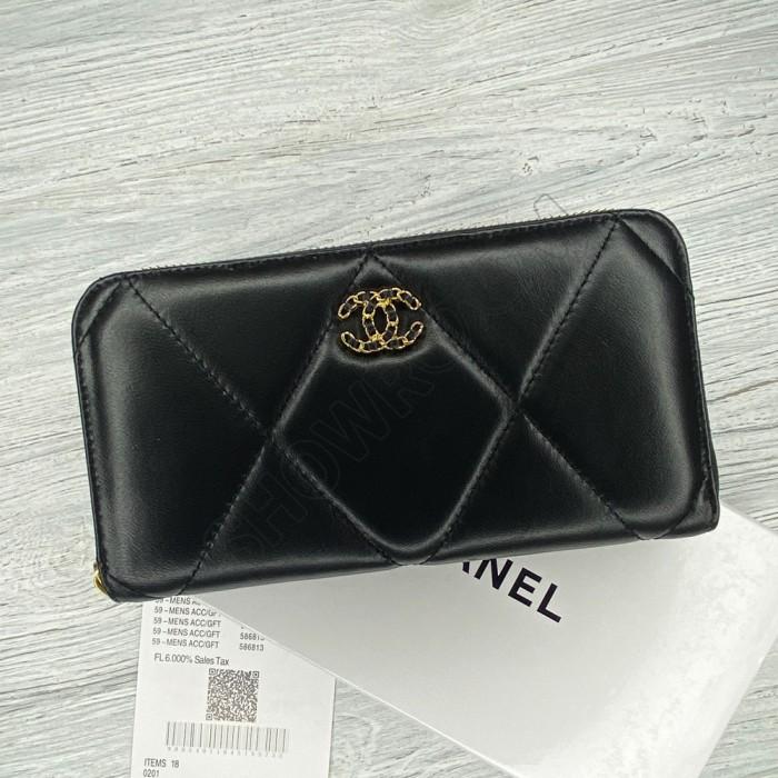 Женский брендовый кожаный кошелек Ch (9001) black
