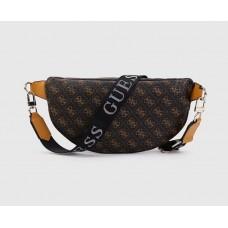 """Женская сумка на пояс """"бананка"""" коричневая (9580)"""