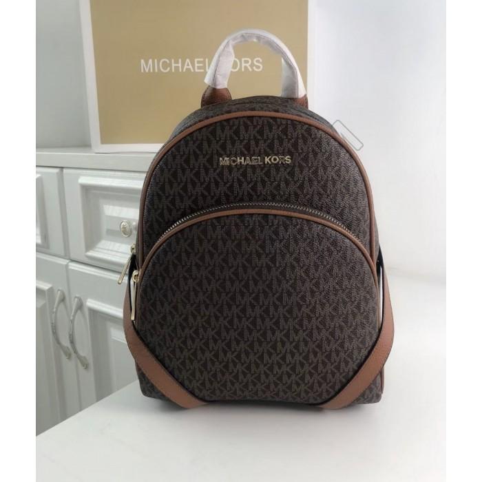 Женский кожаный брендовый рюкзак Michael Kors Abbey Brown Lux