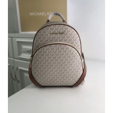 Женский кожаный брендовый рюкзак Michael Kors Abbey White Lux
