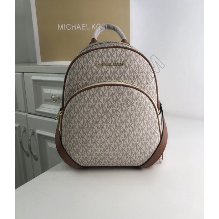 Женский кожаный брендовый рюкзак Michael Kors Abbey Beige Lux