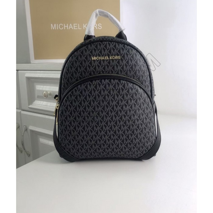 Женский кожаный брендовый рюкзак Michael Kors Abbey Grey Lux