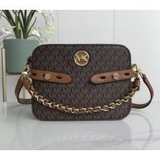 Женская кожаная сумка Mk Carmen brown Lux