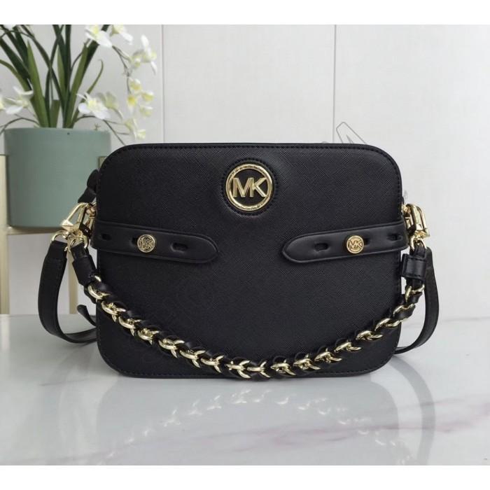 Женская кожаная сумка Mk Carmen black Lux
