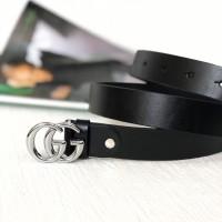 Женский модный кожаный ремень GG (5001) silver