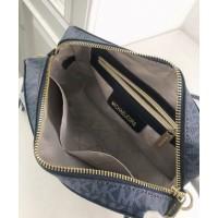 Женская кожаная сумка Mk Jet Set (212) blue Lux