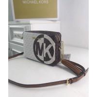 Женская кожаная сумка Mk Jet Set (212) brown Lux