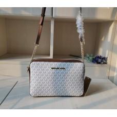 Женская кожаная сумка Mk Jet Set beige Lux