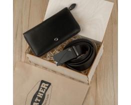 Подарочный набор для мужчин Leather Collection (кошелек и ремень автомат)