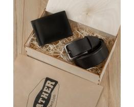 Набор подарочный для мужчин Leather Collection (зажим и ремень)