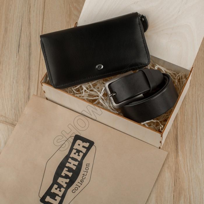 Набор подарочный для мужчин Leather Collection (кошелек и ремень)