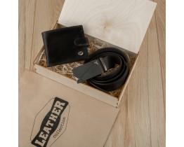 Подарочный набор для мужчин Leather Collection (портмоне и ремень автомат)