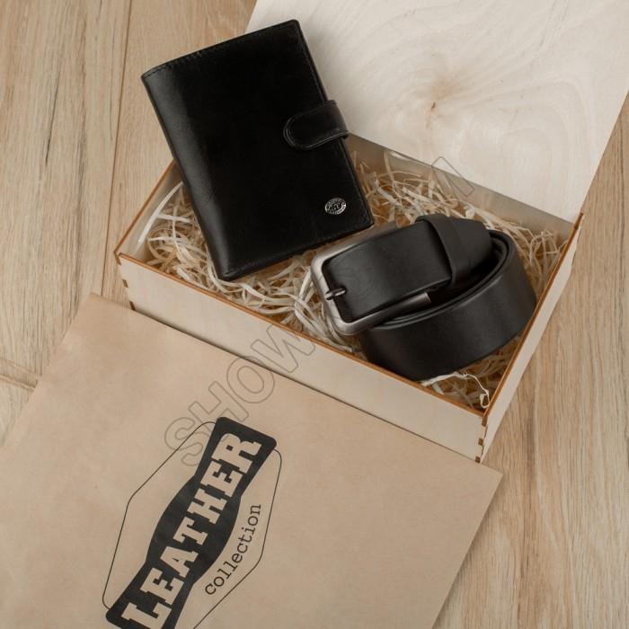 Набор подарочный для мужчин Leather Collection (бумажник и ремень)