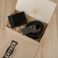 Подарочный набор для мужчин Leather Collection (зажим и ремень автомат)