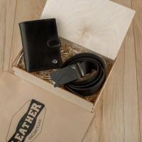 Подарочный набор для мужчин Leather Collection (бумажник и ремень автомат)