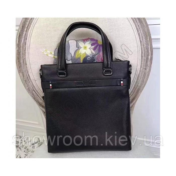 Мужская кожаная сумка Giorgio Armani black 3774-2