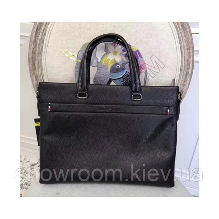 Мужская кожаная сумка Giorgio Armani black 3774-3