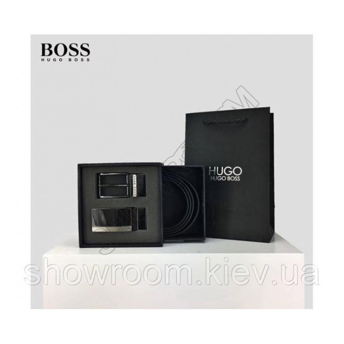 Мужской кожаный брючной ремень Boss (206) подарочный набор