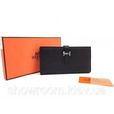 Жіночий чорний шкіряний гаманець Hermes (H-5123)