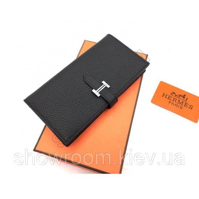 Женский черный кожаный кошелек Hermes (H-5123)