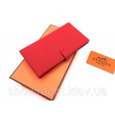 Жіночий червоний шкіряний гаманець Hermes (H-5123)