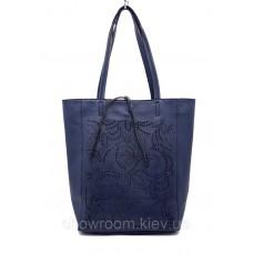 Сумка шоппер жіноча Laura Biaggi (54-33) шкіряна синя