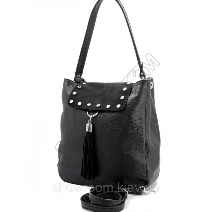 Сумка шоппер женская Laura Biaggi (29-151) кожаная черная