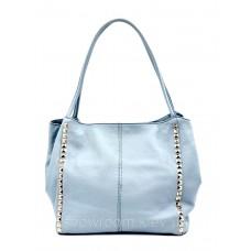Сумка шоппер жіноча Laura Biaggi (80-05) блакитна шкіряна