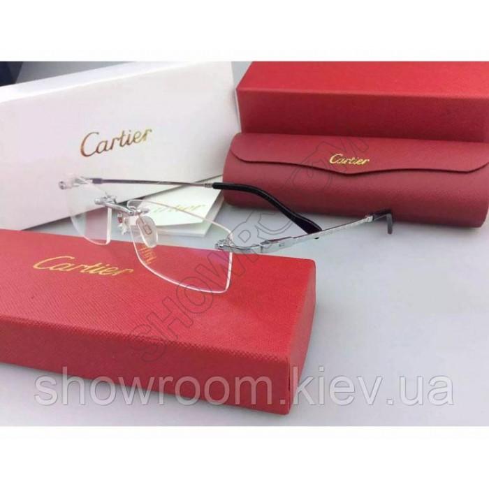 Мужская безоправная оправа Cartier 8200963 серебрянная