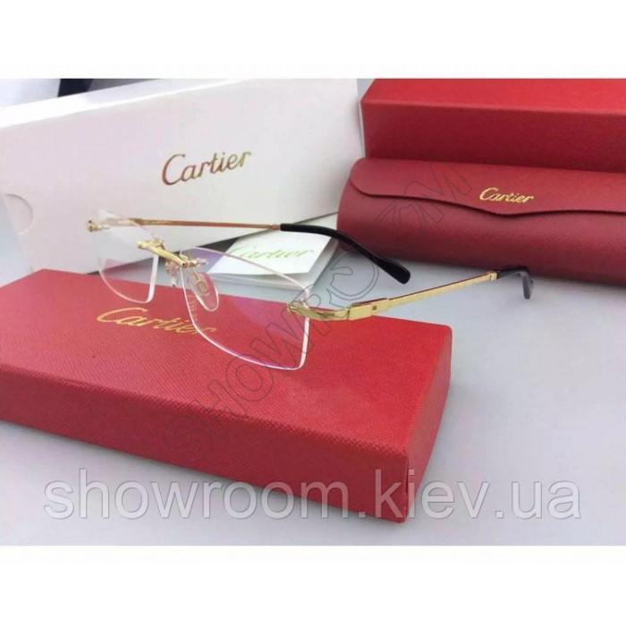 Мужская безоправная оправа Cartier 8200963 золотая