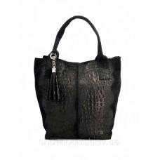 Сумка шоппер жіноча Vera Pelle (2201) шкіряна чорна