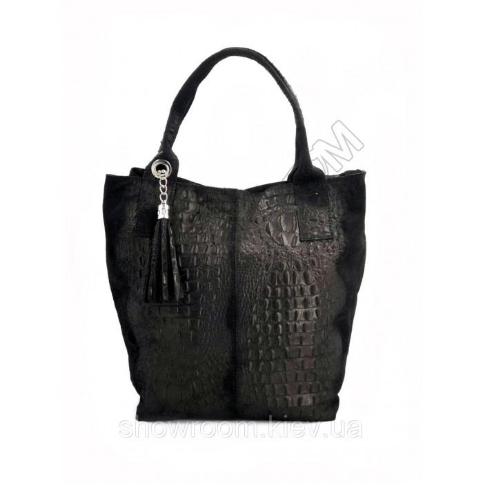 Сумка шоппер женская Vera Pelle (2201) кожаная черная