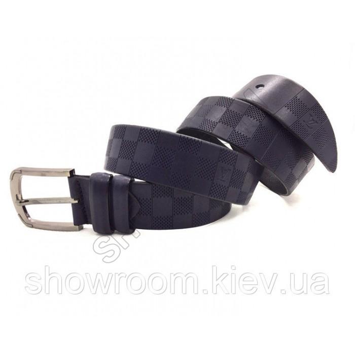 Мужской кожаный ремень LV (3001) синий
