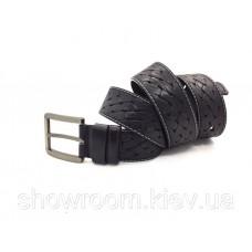 Чоловічий шкіряний плетений ремінь чорний