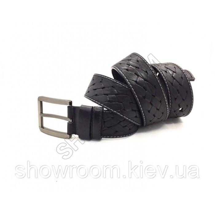 Мужской кожаный плетенный ремень черный
