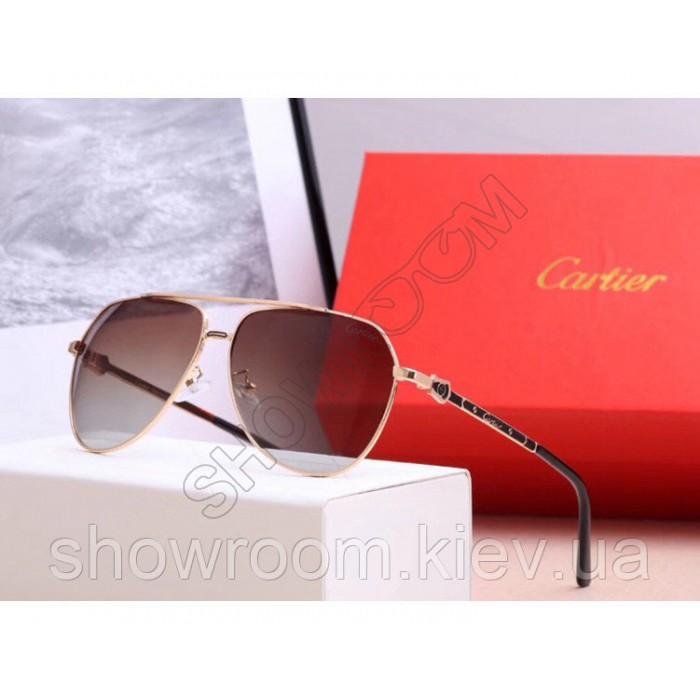Мужские солнцезащитные очки с поляризацией Cartier (0121) gold