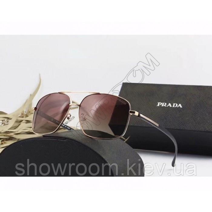 Мужские солнцезащитные очки с поляризацией Prada (98001) gold