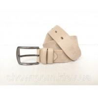 Мужской кожаный ремень LV (3001) бежевый