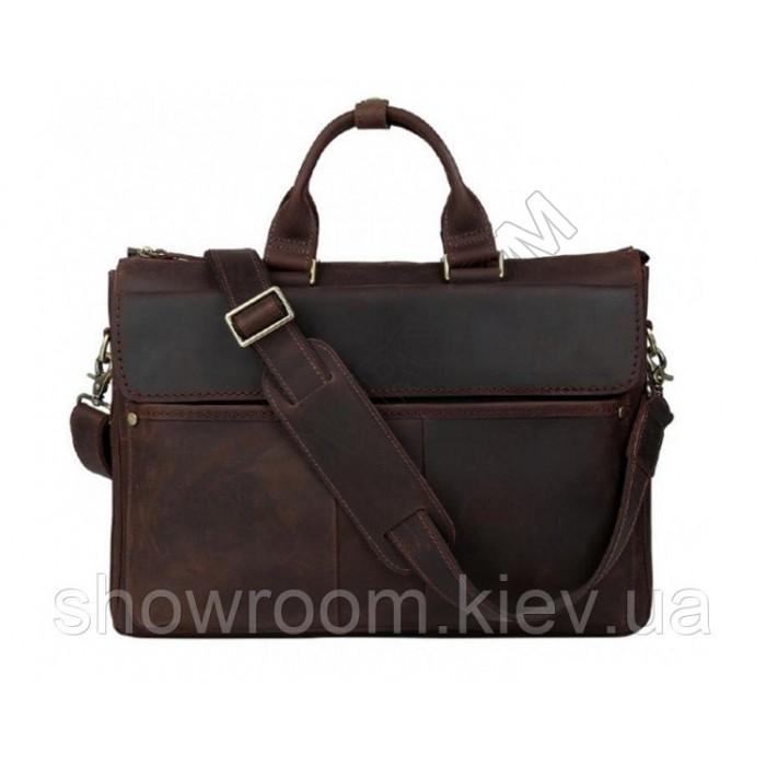 Сумка чоловіча для ноутбука Wild Leather (001) шкіряна коричнева