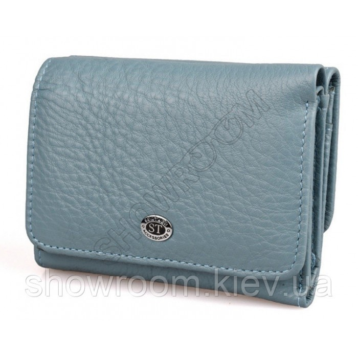 Женский кожаный кошелек (4031) голубой