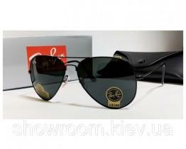 Чоловічі сонцезахисні окуляри RAY BAN aviator, чорна оправа