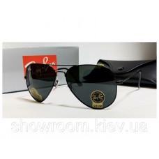 Жіночі сонцезахисні окуляри RAY BAN aviator 3025, чорна оправа