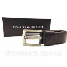 Мужской кожаный брендовый ремень (044) черный