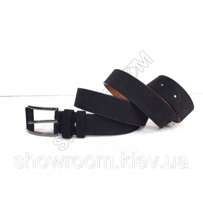 Кожаный замшевый черный ремень (40)