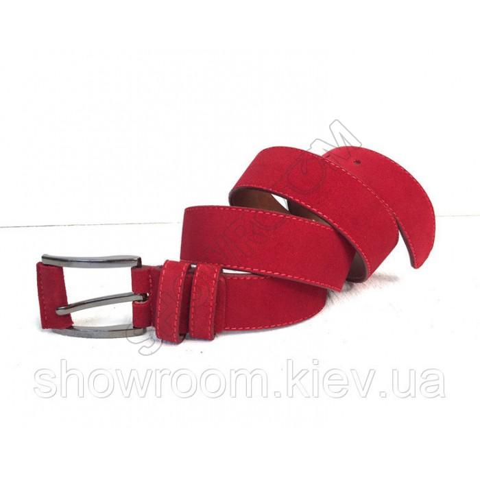 Кожаный замшевый красный ремень (40)